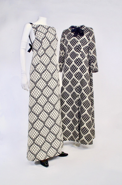Black and White Wool Damask Evening Dress and Matching Coat in Opposite Colourway by Arnold Scaasi, c. 1966