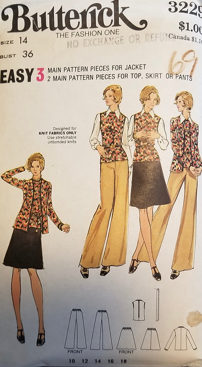 1973 (c.) Butterick #3229 for jacket, top, skirt and pants