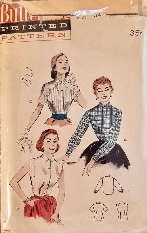 1954 circa Butterick blouse pattern