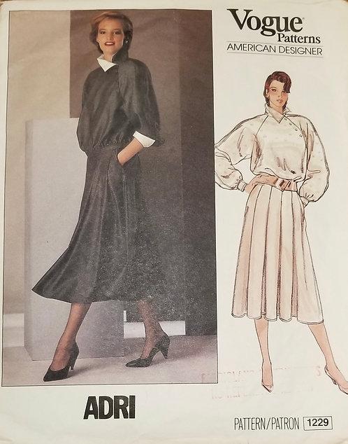 1980s Vogue American Designer Adri dress pattern #1229