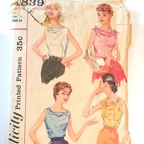 1956 Simplicity #1839 Blouses