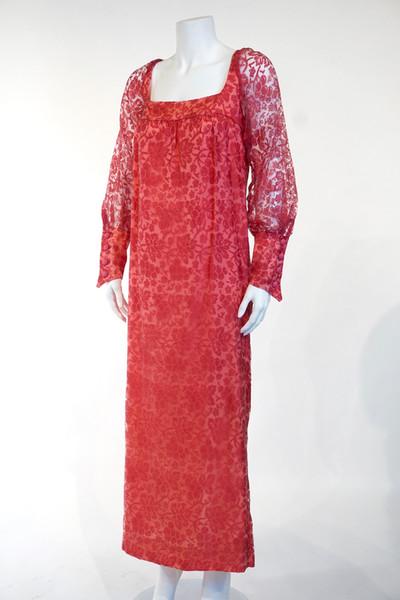 Pink Sheer Nylon Evening Dress, 1969