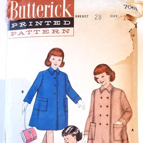 Butterick #7061 Girl's Coat - c. 1954
