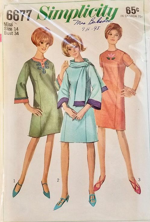 1966 Simplicity dress pattern #6677