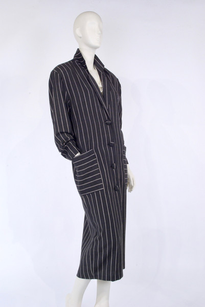 Black and White Pinstripe Shirt Dress by Le Chateau, 1984