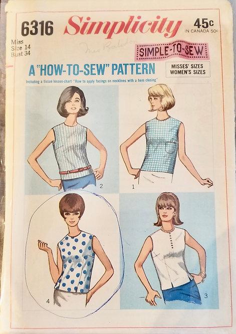 1965 Simplicity blouse pattern #6316