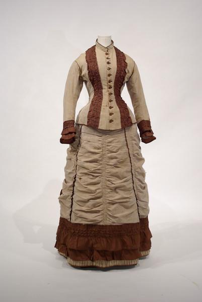 Brown Wool and Silk Taffeta Day Dress, c. 1874