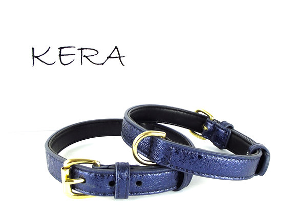 Glam Leather Collar by Kera - Blue