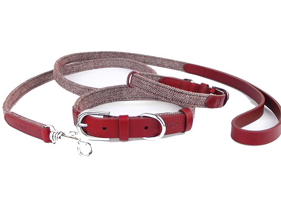 Kera Tweed Collar & Lead Set - Burgundy