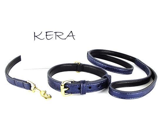 Glam Collar & Lead Set - Blue Sheepskin