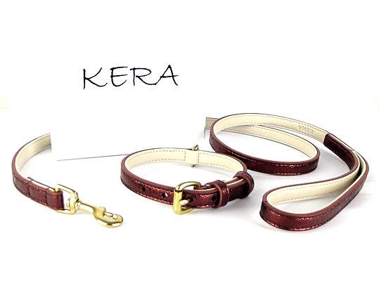 Glam Collar & Lead Set - Red Sheepskin