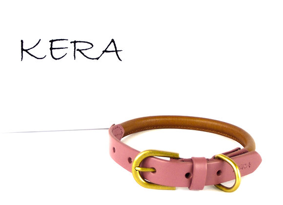 Kera Rolled Leather Collar - Pink & Tan