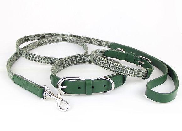 Kera Tweed Collar & Lead Set - Green