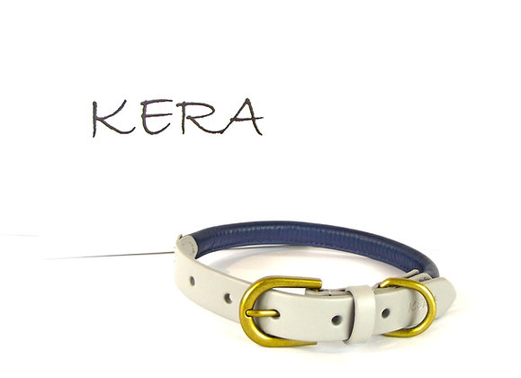 Kera Rolled Leather Collar - Midnight Blue with Light Grey