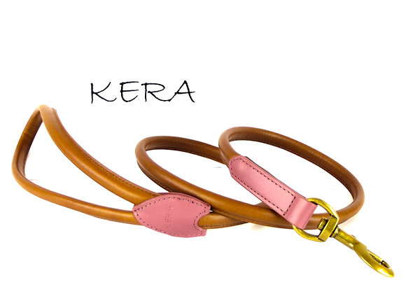 Kera Rolled Leather Lead - Tan with Dusky Pink