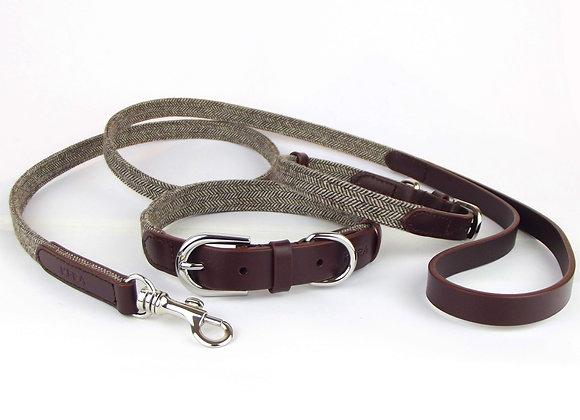 Kera Tweed Collar & Lead Set - Brown