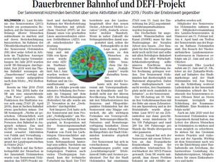 Dauerbrenner Bahnhof und DEFI-Projekt