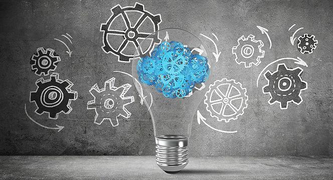 Lightbulb with gears - innovation - narr