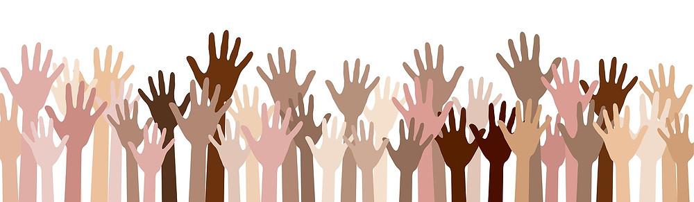 Hands Raised For Community