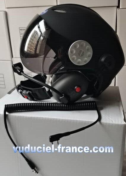 Casque ULM  VUDUCIEL GD-K01 complet, avec prise radio, blanc,noir
