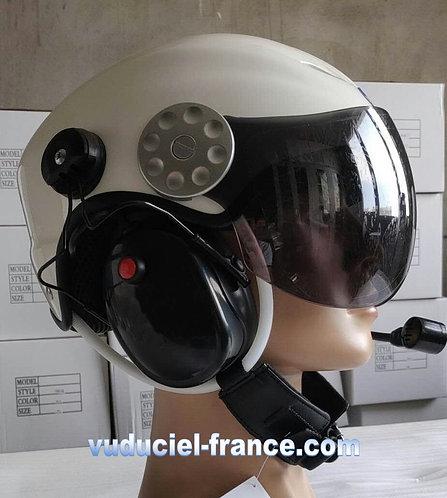 Copie de Casque ULM  VUDUCIEL GD-K02 complet, avec prise radio, blanc,noir