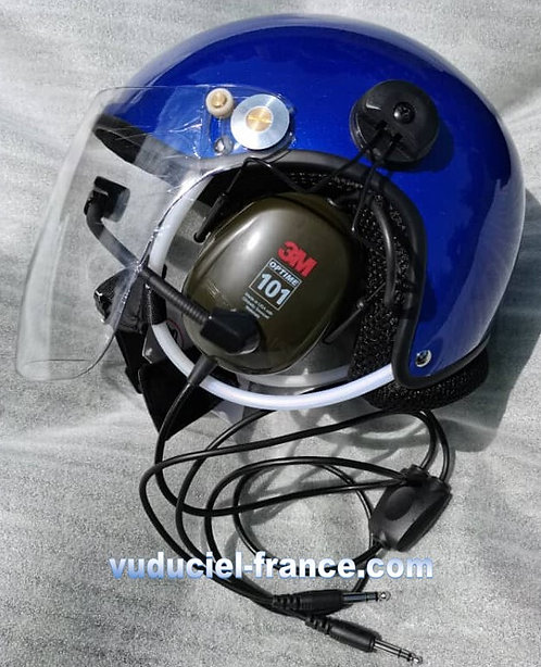 Casque ULM  VUDUCIEL CR-GD-C01  complet, avec prise radio, noir, blanc,bleu