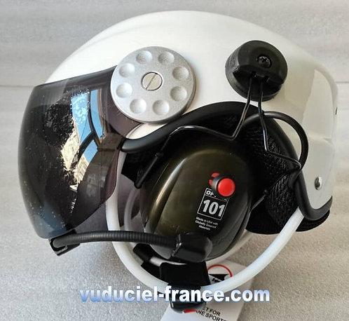 Casque ULM  VUDUCIEL GD-K03 complet, avec prise radio, blanc,noir