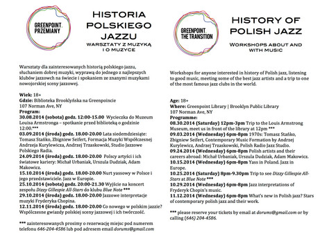 History of Polish Jazz Workshops at Greenpoint Library