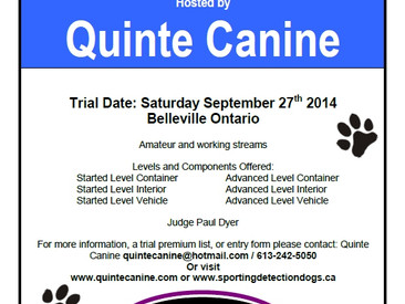 Quinte Canine Hosting Scent Detection Trials