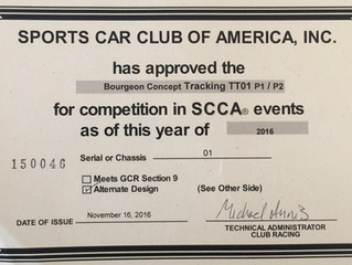Sports Car Club of America(SCCA) approves TracKing TT01 for competition!