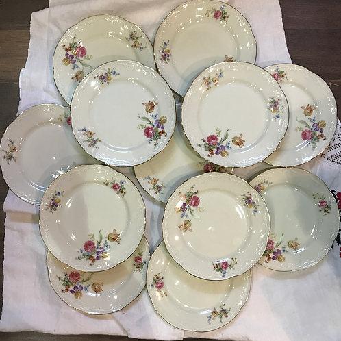 Набор тарелок на 12 персон, фарфор, Бавария