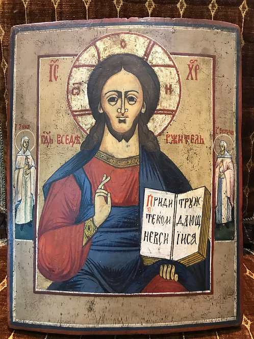 Господь Вседержитель с предстоящими Св. Анна и Св. Екатерина, конец XIX века