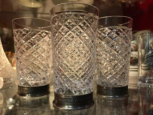 Набор из трех стаканов, мельхиор, хрусталь
