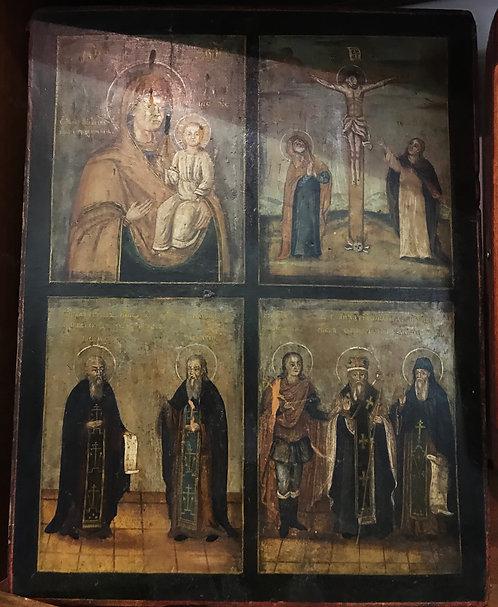 Четырехчастник: тихвинская Богоматерь, Распятие, Засима и Савватий, 3 святых, ХХ
