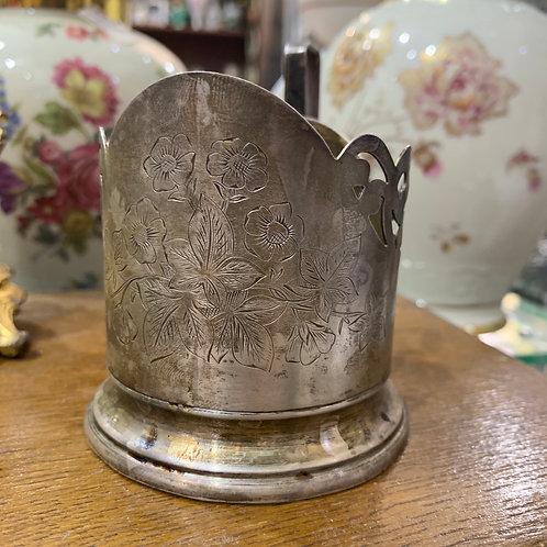 """Подстаканник """"Цветы"""", серебро, 875 пр, 1969 г"""