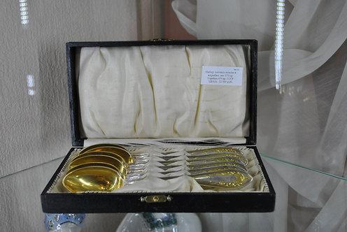 Набор чайных ложек, серебро 875 пр