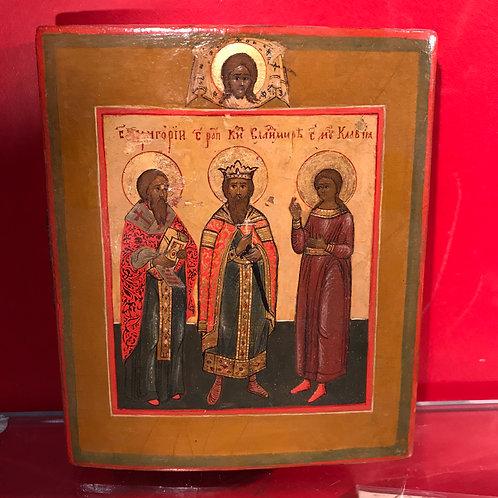 Икона избранные святые Григорий, Владимир, Клавдия