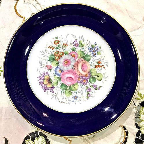 """Коллекционная тарелка """"Цветы"""", кобальт,Франция"""