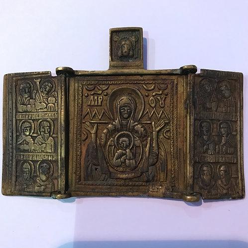 Складень Богоматерь Знамение, XIX в