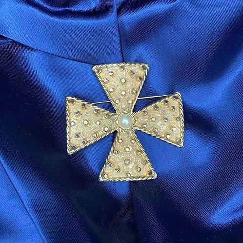 """Брошь """"Мальтийский крест"""" от Carolee, 1970-е гг"""