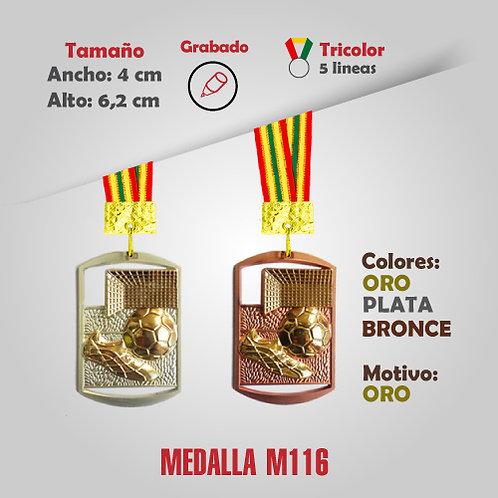 MEDALLA CUADRADA FÚTBOL COD: M116 (CHA00116-50-UNI)