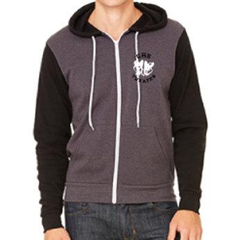Fleece Full Zip Hoodie Black and Grey