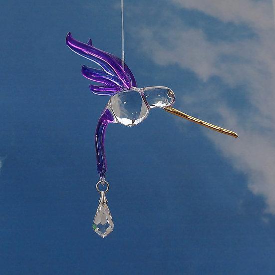 Purple Hummingbird Fantasy Glass