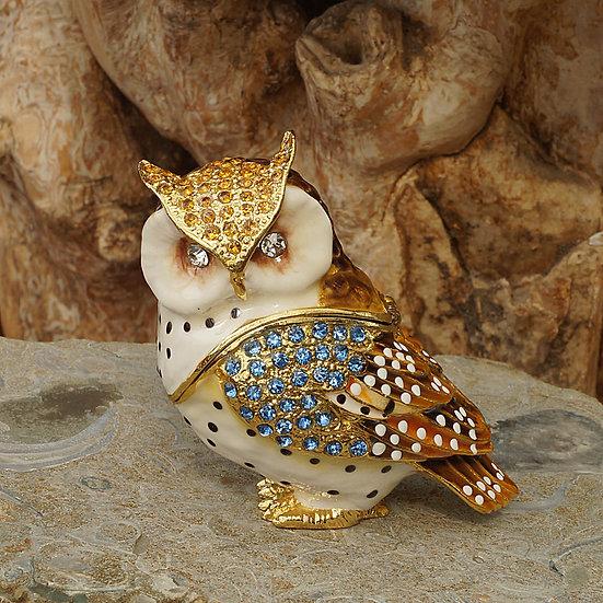 Cloisonne owl trinket box