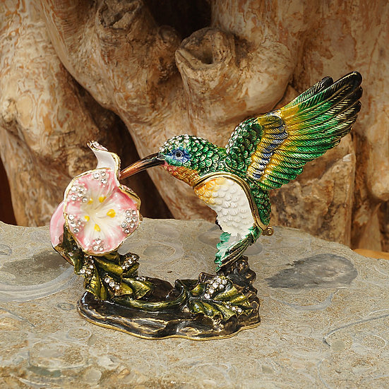 Cloisonne Humming Bird trinket box
