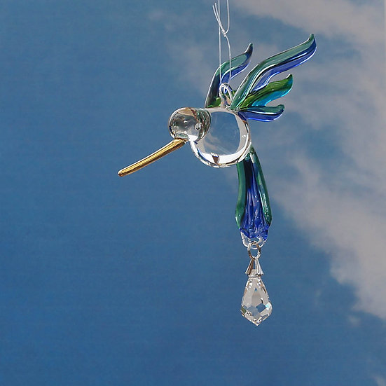 Hummingbird (peacock colours) fantasy glass