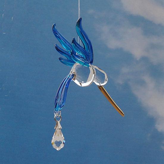 Hummingbird (sapphire colour) fantasy glass