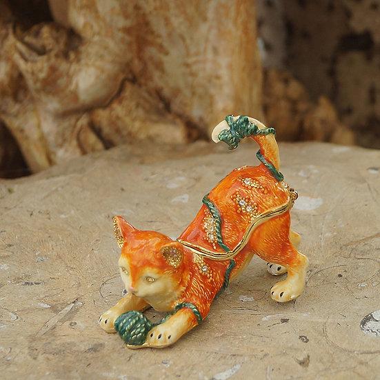 Cloisonne Cat Trinket Box