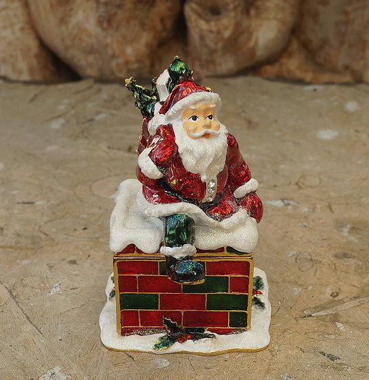 Cloisonne Father Christmas Trinket Box
