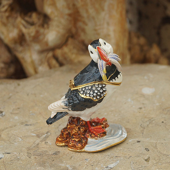 Cloisonne Puffin trinket box